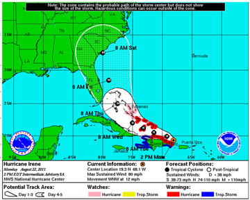 Hurricane forecast tracking map