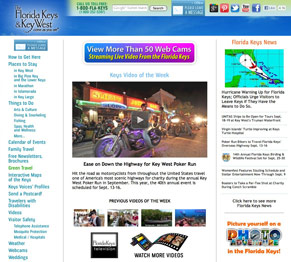 The home page of the Florida Keys website in Sept. 2012, when Hurricane Isaac appeared to threaten the area.
