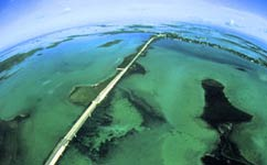 Aerial of Florida Keys Bridge