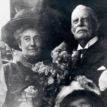 Mary Lilly (Flagler's wife) and Henry Flagler arriving at Key West on January 22, 1912