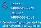 United - 1-800-523-3273 / jetBlue - 1-800-538-2583 / codeshare flights operated by Silver Airways - 800-229-9990
