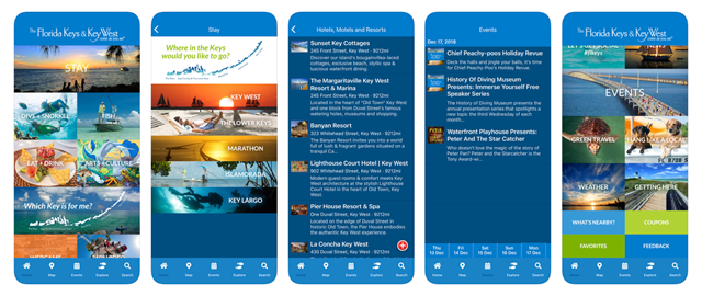 The Florida Keys & Key West app screens