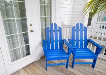 Blue Chairs on an Outside Deck in Marathon