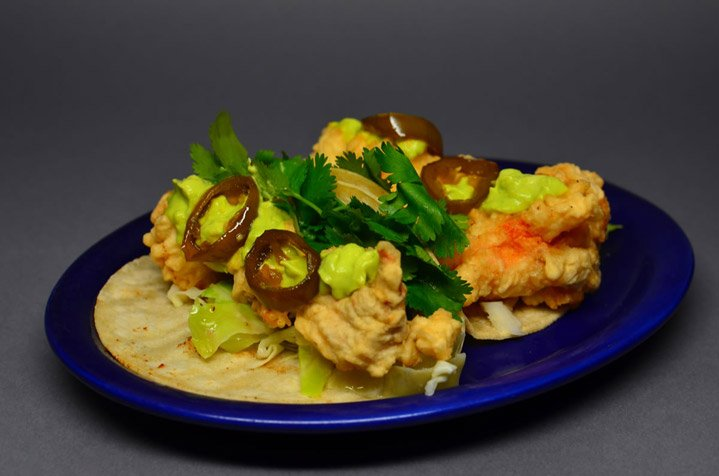 Lobster Tacos with Cabbage Slaw and Avocado Cream