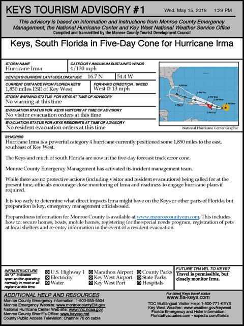 Example of an official Keys tourism advisory