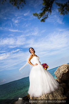 Bridal portrait at Fort Zachary Taylor Beach in Key West