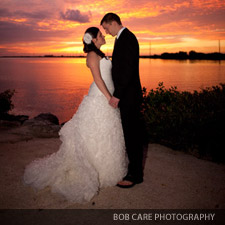 Key Largo sunset wedding couple
