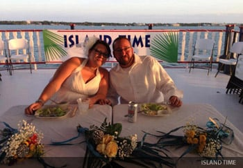 Sunset cruise reception on the water