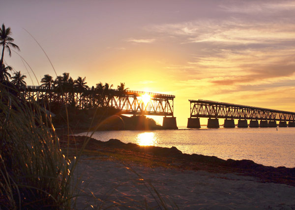 sunset, bridge, Bahia Honda