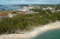 The beach at Fort Zachary Taylor State Park is Key West locals' favorite for its clear Atlantic Ocean waters and near-shore snorkeling.
