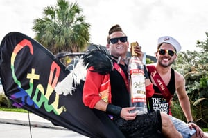 Stoli's National LGBT Brand Manager, Patrick Gallineaux, appears with Key West Cocktail Classic 2015 winner Matthew Mello from San Francisco in last year's Key West Pride Parade.