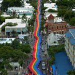 Key West sea-to-sea rainbow flag