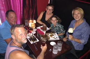 (Clockwise from bottom left): Todd Spangler, Randy Dietrick, Caroline Stover-Sickmen, Ruby Stover-Sickmen and Erin Stover-Sickmen enjoy luscious desserts at Key West's emporium Better Than Sex.