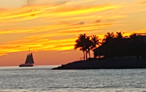 Key West sunset on the water