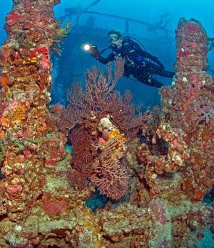 Diver explores Spiegel Grove Key Largo