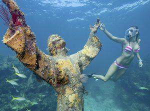 Diver at Key Largo Christ statue