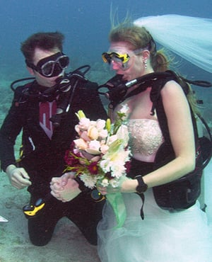 underwater wedding Florida Keys Key Largo