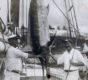Hemingway with fish