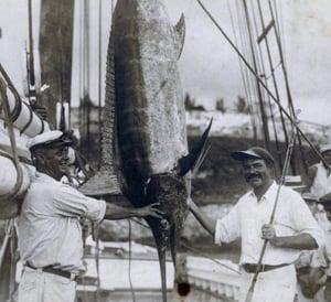 Hemingway with fish