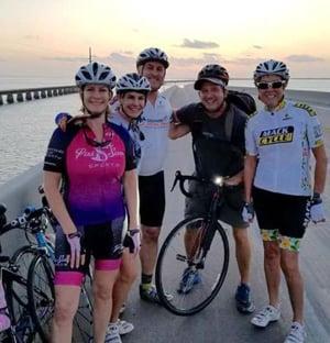 Cyclists on Florida Keys Overseas Highway bridge