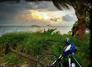 Florida Keys bike sunset ocean
