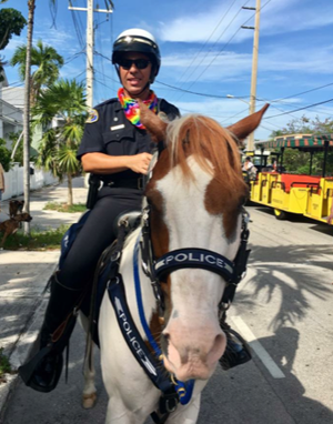 Key West police chief on horse