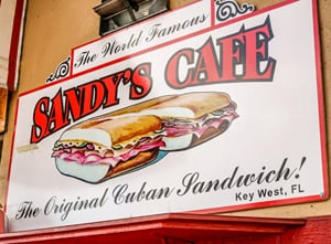 Sandy's Cafe sign Key West