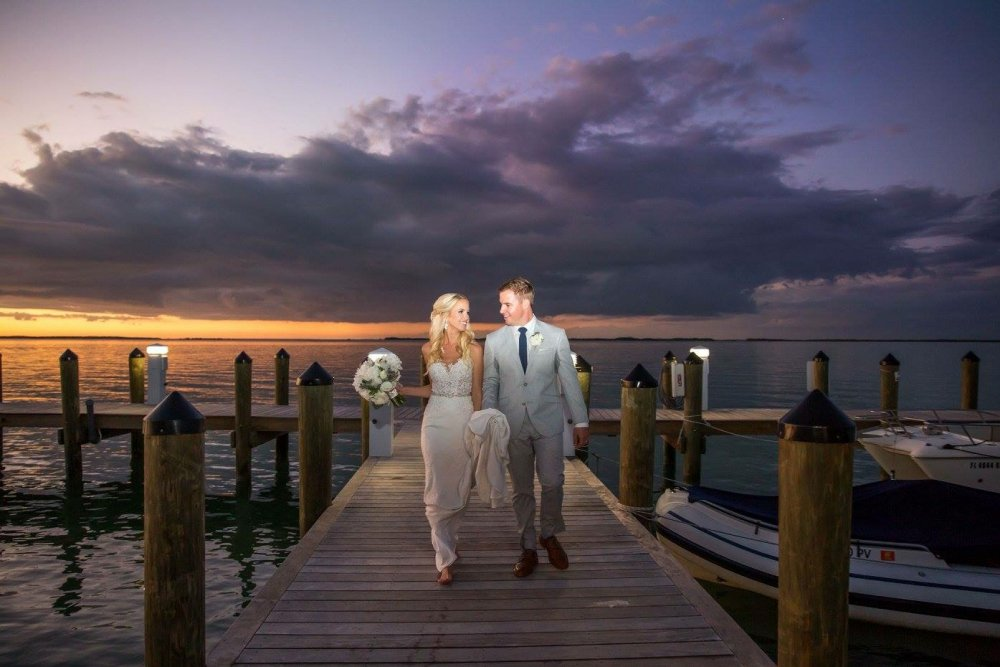 Key Largo dockside wedding couple