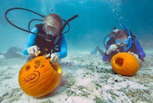 Underwater Pumpkin Carving team Key Largo