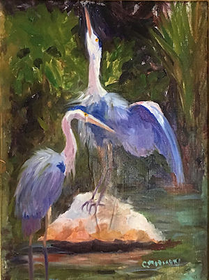 Blue Herons Florida Keys by artist Claudia Moriarty