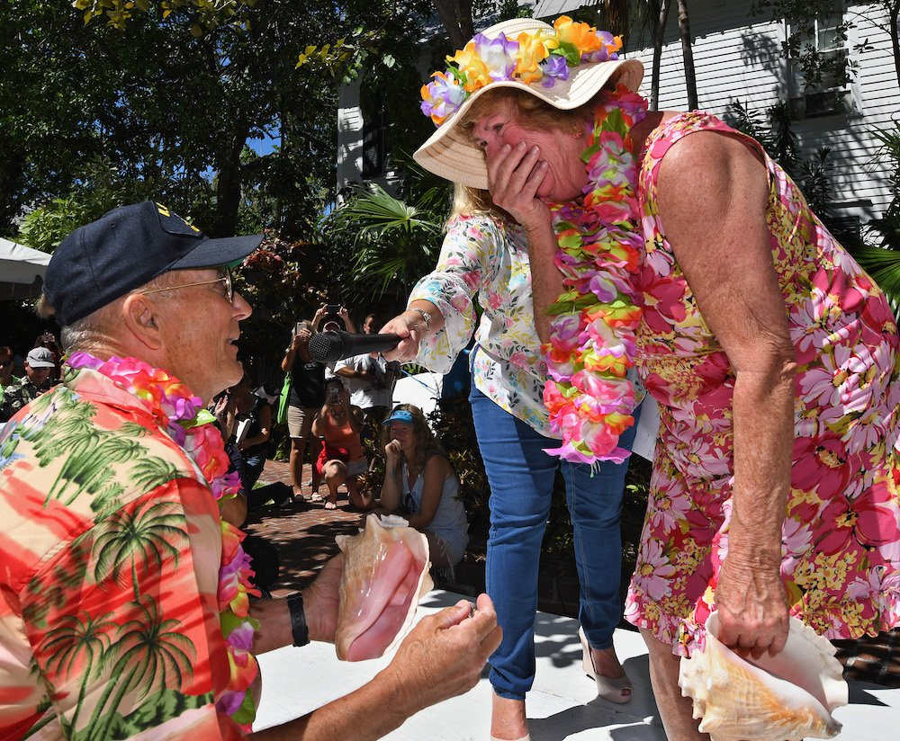 Conch Shell Blowing Contest marriage proposal Key West