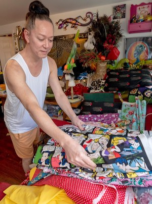 Sushi Key West choosing fabric for sewing masks
