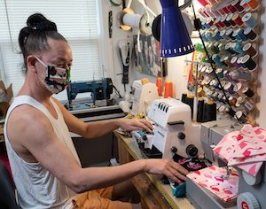 Sushi sewing coronavirus masks Key West