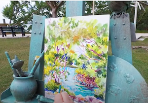 Sculpted Easel and painting Florida Keys