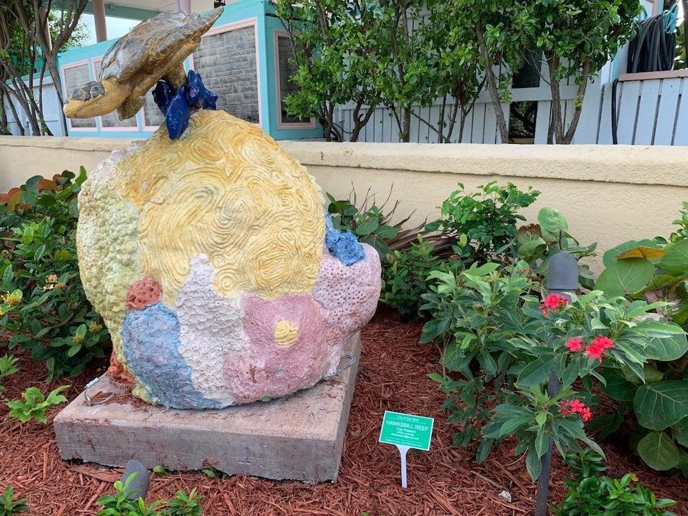 sculpture in Key West pocket park