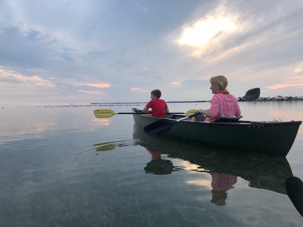 mother and son kayaking in Florida Keys