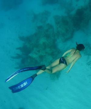 Woman snorkeling in Florida Keys