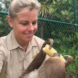 Jeanne Selander and Mo the Sloth