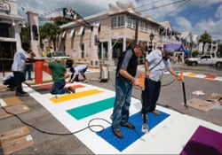 Key West Rainbow Crosswalks being installed