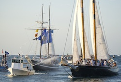 A good-natured sea battle featuring historic tall ships is among the event highlights. Image: Rob O'Neal