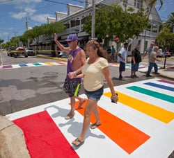 Couple Key West Rainbow Crosswalk