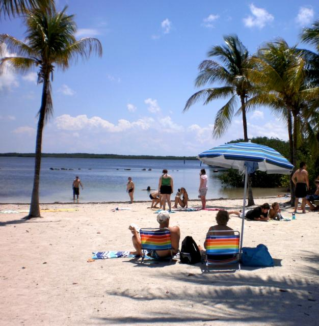 Key Largo's John Pennekamp Coral Reef State Park at mile marker (MM) 102.6 features the popular Cannon Beach and Far Beach.