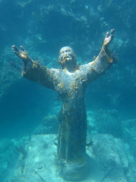 The iconic Christ of the Abyss statue located at Key Largo Dry Rocks, was unscathed by hurricane Irma's forceful storm surge. Image: Jack Fishman