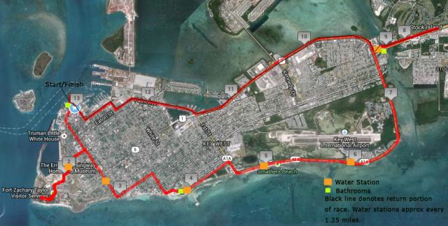 Racers in the marathon are to run a flat, fast course that includes Key West's historic Old Town, Atlantic and gulf shorelines, neighboring Stock Island and part of the Overseas Highway into the Lower Keys.