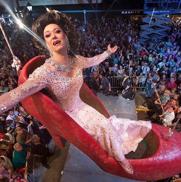 "Renowned ""drag queen"" Sushi takes center stage at the annual celebration at the Bourbon St. Pub/New Orleans House complex. Image: Andy Newman"