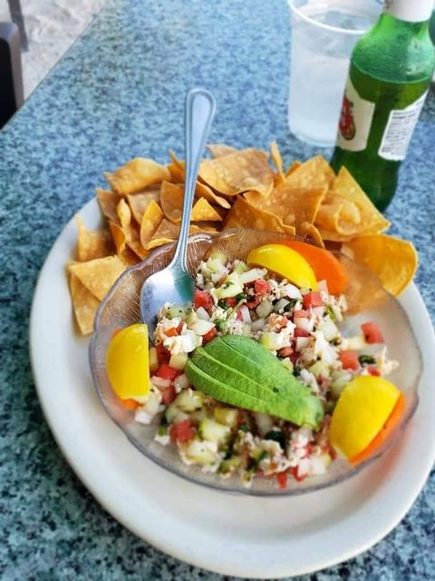 Keys favorites abound at Lazy Days Islamorada including fried conch ceviche, cracked conch, conch chowder, pink shrimp, and fresh catch, pick your style.