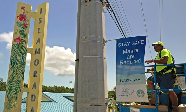 More than 100 banners are being installed along the Florida Keys Overseas Highway and in the city of Key West to communicate COVID-19 protective measures, including the mandatory wearing of masks, that are in place throughout the island chain.