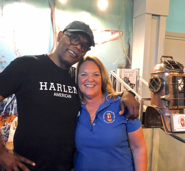 Mongelia with actor Samuel Jackson during a 2019 visit to the History of Diving Museum in Islamorada.