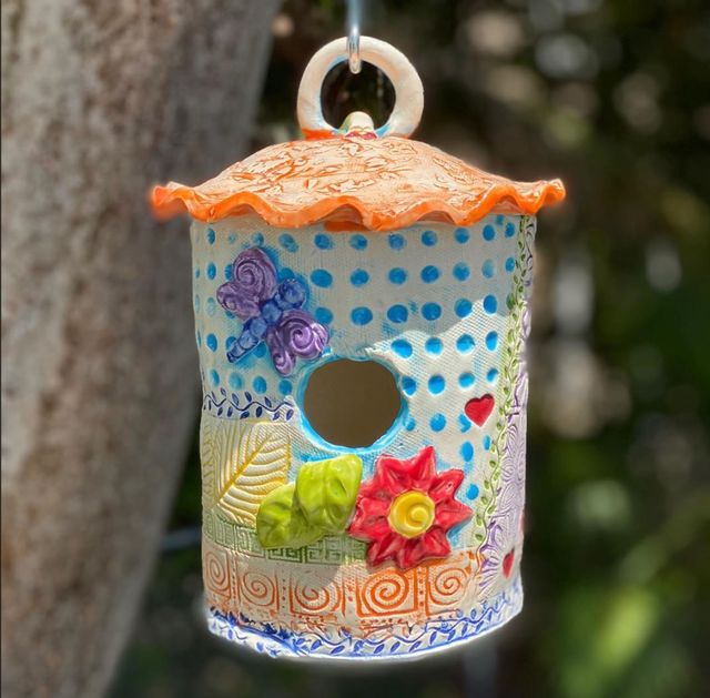 Create a wet clay birdhouse at the Art Studio.