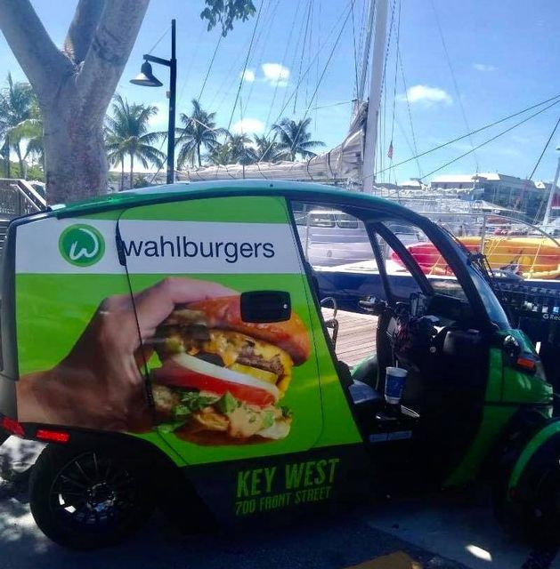 Wahlburgers Key West is a new 5,141-square-foot casual restaurant, with outdoor waterfront bar, overlooking the Historic Key West Seaport and delivery in electric vehicles.